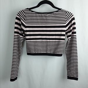 bebe Tops - BEBE Light Pink & Black Stripe Crop Top